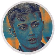 Thoughtful Youth Series 27 Round Beach Towel