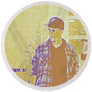 Thoughtful Youth Series 30 Round Beach Towel
