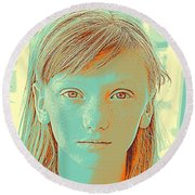 Thoughtful Youth Series 33 Round Beach Towel