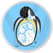 Thoughts And Colors Series Penguin Round Beach Towel