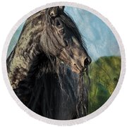 Thoughts Of Friesians Round Beach Towel