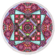 Thoughts Of Pink Round Beach Towel