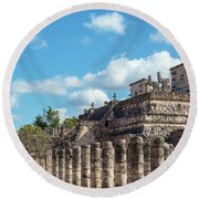 Thousand Columns And Temple Of The Warriors Round Beach Towel