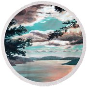 Thousand Island Sunset Round Beach Towel