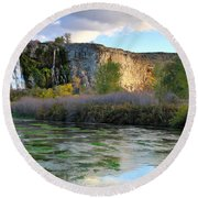 Thousand Springs Idaho Round Beach Towel