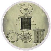 Thread Spool Patent 1877 Weathered Round Beach Towel