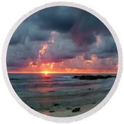 Threatening Sky Above The Caribbean Sea Off Isle De Mujeras' North Shore Round Beach Towel