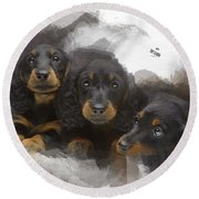 Three Adorable Black And Tan Dachshund Puppies Round Beach Towel