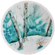 Three Aspens On A Snowy Slope Round Beach Towel