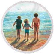 Three Beach Children Siblings  Round Beach Towel