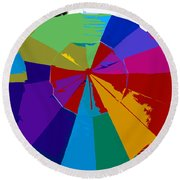 Three Beach Umbrellas Round Beach Towel
