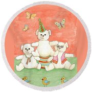 Three Bears Ready For The Party Round Beach Towel
