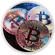 Three Bitcoin Coins In A Colorful Lighting. Round Beach Towel
