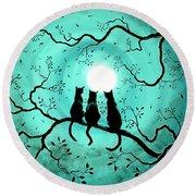 Three Black Cats Under A Full Moon Round Beach Towel