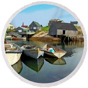 Three Boats At Peggys Cove Round Beach Towel