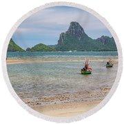 Three Boats Thailand Round Beach Towel