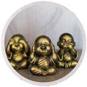 Three Buddha Statue Round Beach Towel