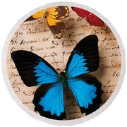 Three Butterflies Round Beach Towel