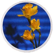 Three Cheers - Yellow Daffodils In A Red Bowl Round Beach Towel