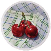 Three Sweet Cherries By Irina Sztukowski Round Beach Towel