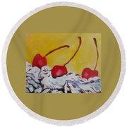 Three Cherries Round Beach Towel