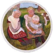 Three Children Sitting On A Hillside With Dog And Horse Round Beach Towel