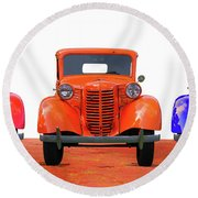 Three Colored Cars Round Beach Towel