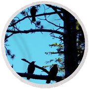 Three Crows In A Tree Round Beach Towel