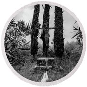 Three Cypresses Round Beach Towel
