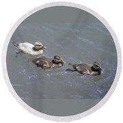Three Duckies  Round Beach Towel