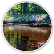 Three Ducks At The Azalea Pond Round Beach Towel