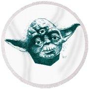 Three Eyed Yoda Round Beach Towel