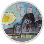 Three Eyes Round Beach Towel