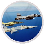 Three F-5e Tiger II Fighter Aircraft Round Beach Towel
