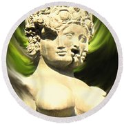 Three Faced Statue Round Beach Towel