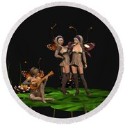 Three Fairies At A Pond Round Beach Towel