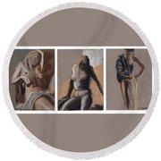 Three Figures - Triptych Round Beach Towel
