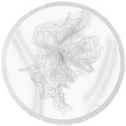 Three Fingered Jack Contour In Black Round Beach Towel