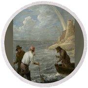 Three Fishermen Casting Their Nets Round Beach Towel