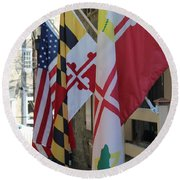 Three Flags Round Beach Towel
