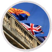 Three Flags At London Bridge Round Beach Towel