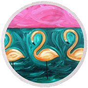Three Flamingoes Round Beach Towel