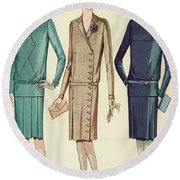 Three Flappers Modelling French Designer Outfits, 1928 Round Beach Towel