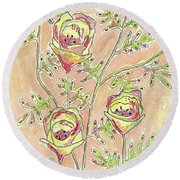 Three Flowers Round Beach Towel