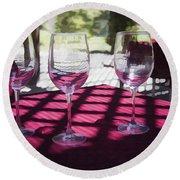 Three For Wine Round Beach Towel