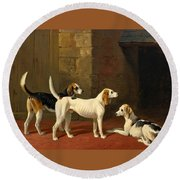 Three Fox Hounds In A Paved Kennel Yard Round Beach Towel