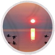 Three Geese Flying By The Sunrise  Round Beach Towel