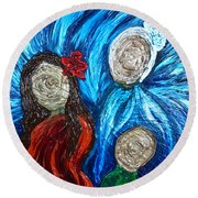 Three Generations Round Beach Towel
