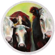 Three Generations Of Moo Round Beach Towel
