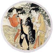Three Girls Paddling In A River Round Beach Towel by Kitagawa Utamaro